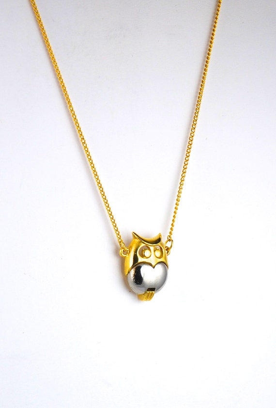 Owl Necklace Small Vintage Owl Pendant 1970s