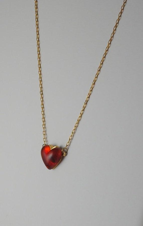 Vintage Heart Vintage Transparent Red Heart Pendan