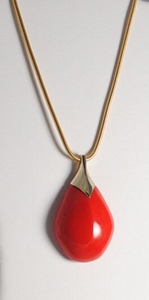 Vintage LANVIN Paris Red Pear Shaped Pendant Signe