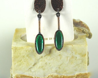 Vintage Copper and Beautiful Green Earrings Made in Spain 1960s