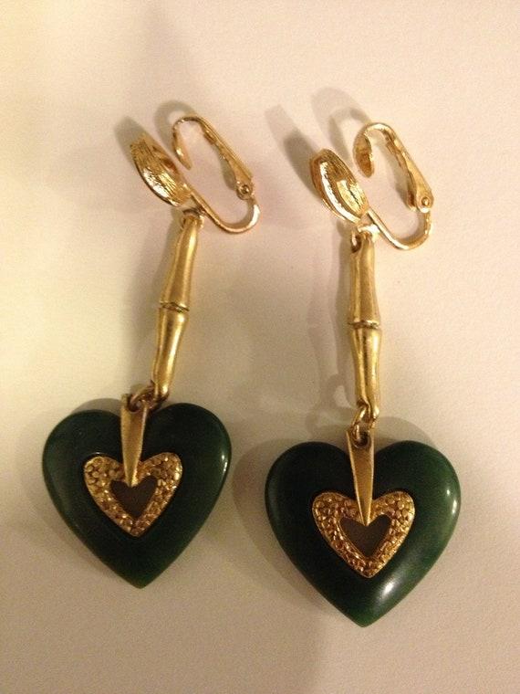 Lanvin-Like Jade Resin Vintage Earrings - image 1