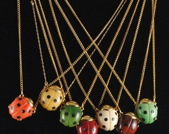 Ladybug Necklace Vintage 1970s Small GOOD LUCK Ladybug Pendant Insect Jewelry Bug Jewelry