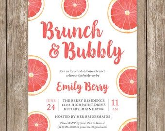 Watercolor Fruit Bridal Shower Invitation. Brunch and Bubbly Bridal Party Invite. Pink Coral Summer Theme. DIY Printable Shower Card.
