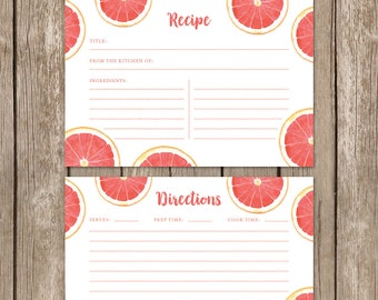 Watercolor Fruit Recipe Cards. Brunch and Bubbly Bridal Shower Recipe Cards. Gift for Bride to Be. Family Friends Recipes. DIY Printable.