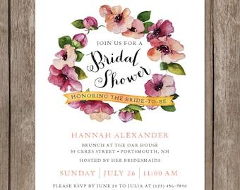 Floral Watercolor Bridal Shower Invitation. Rustic Bridal Shower Invitation. DIY Printable Watercolor Invitation. Vintage Floral Invitation.
