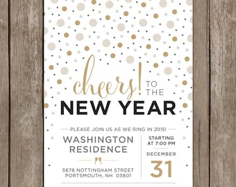 Custom New Years Eve Party Invitation. Cheers to the New Year. Circle Confetti DIY Printable. New Years Celebration Invite.