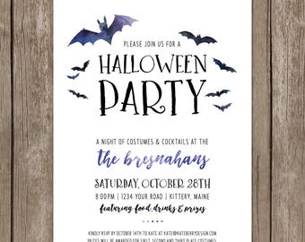 Halloween Party Invitation. Custom Cocktails and Costumes Invite. Watercolor Bats Black White Halloween Card. Digital DIY Printable.