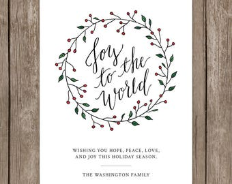 Joy to the World Holiday Card Printable. Calligraphy Greeting Card Printable. Hand Lettered Christmas Card Printable. DIY Printable Card.