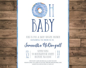 Baby Shower Brunch Invitation. Oh Baby Donut Invite. Baby Boy Shower Invite. Blue Watercolor Shower Invite. DIY Printable Digital File.