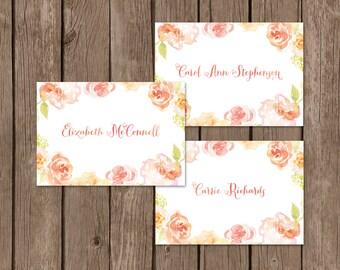 Watercolor Bridal Shower Place Cards. Floral Bridal Shower Place Cards. DIY Printable Guest Place Cards. Wedding Shower Place Cards.
