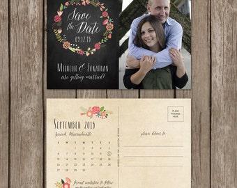 Rustic Save the Date. Vintage Floral Save the Date. Chalkboard Save the Date. Save the Date Postcard. DIY Printable.
