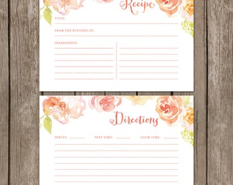 Watercolor Recipe Cards. Floral Bridal Shower Recipe Cards. Instant Download Recipe Cards. Printable Recipe Cards.