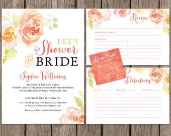 Watercolor Bridal Shower Invitation Package. Floral Bridal Shower Invite. Shower Invite Recipe Cards. Printable Bridal Shower Package.
