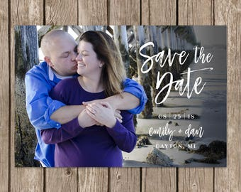 Save the Date Digital Photo Postcard. Custom Printable Wedding Save the Date Card. DIY Printable. Modern Calligraphy Save the Date.
