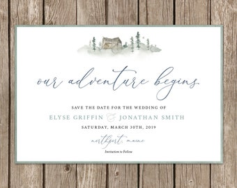 Wedding Save the Date Invitation. Winter Cabin Forest Invite. Simple Elegant Calligraphy Postcard. Our Adventure Begins DIY Printable.