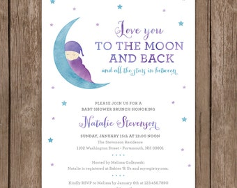 Baby Shower Brunch Invitation. Love You to The Moon and Back. Baby Girl Shower Invite. Custom Watercolor Invite. DIY Printable Digital File.