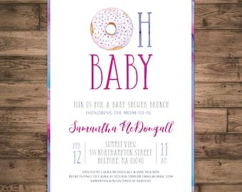 Baby Shower Brunch Invitation. Oh Baby Donut Invite. Purple Girl Shower Invite. Pink Watercolor Shower Invite. DIY Printable Digital File.