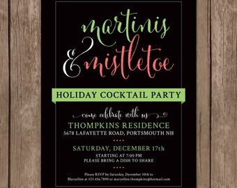 Martinis and Mistletoe Holiday Party Invitation. Holiday Party Invite. Cocktail Party Invitation. Christmas Party Invitation. DIY Printable.