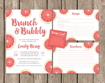 Watercolor Bridal Shower Invitation Set. Brunch and Bubbly Bridal Party Invite. Pink Coral Fruit Recipe Cards. DIY Printable Shower Suite.