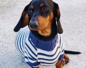 Dachshund Clothes - French Breton Striped Marine - Dachshund Sweater - Dog Clothes - Dog sweater -Dog coat -Dog costume -Dog winter clothes