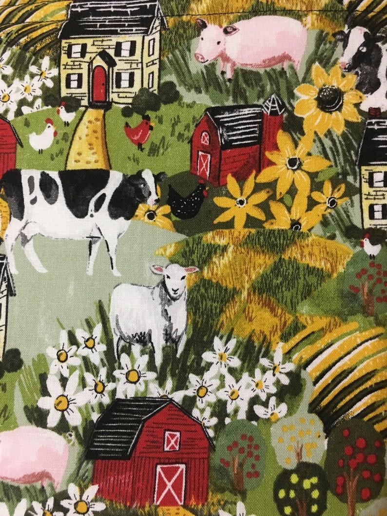Red Barn Cows Hot Pads Farm Print