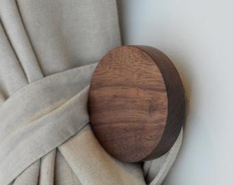Large Round Wood Knob - Contemporary Walnut Coat Hook - Designer Door and Drawer Pull