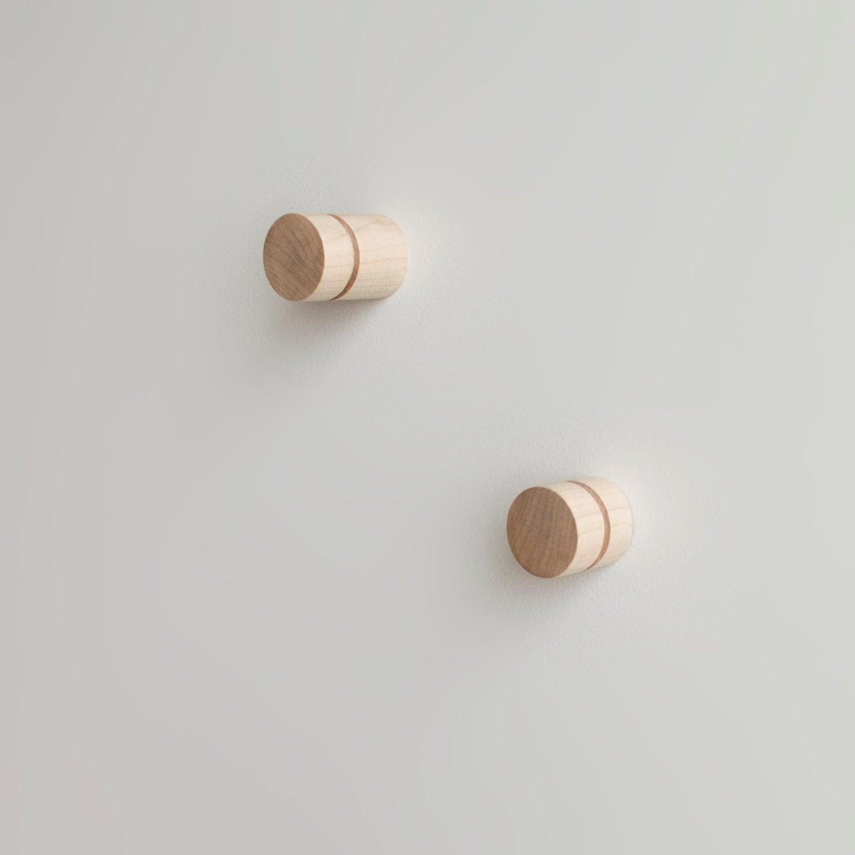 & The Cut Dowel Wall Knob Set Handmade Round Wood Wall Hook | Etsy