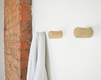 The Long Dowel Wall Hook -  Handmade White Oak Wall Knob - Wall Storage, Coat Hook, Entryway Wall Hook
