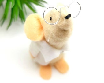 Lab mouse- medical ornament - Geeky- science- scientist-  Felt mouse-  keepsake - mouse Gift