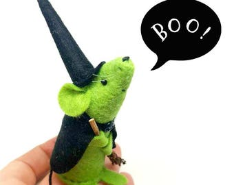 Halloween Ornament - Little Witch Mouse - a Unique handmade felt mouse ornament, a different gift for Halloween