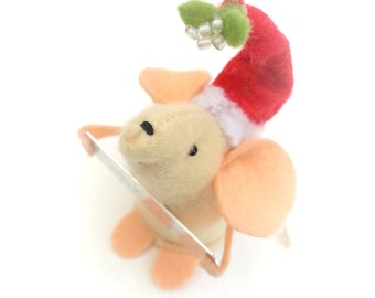 Handmade felt christmas ornament, miniture mouse soft sculure, personalised as a gift