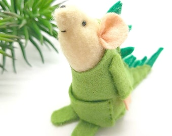 Dino Mouse, the mouse that dreams of being a Dinosaur- felt mouse ornament