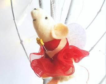 Christmas Fairy Decoration / Ornament Mouse, Handmade from felt, perfect as a Christmas girft or a little keepsake to collect