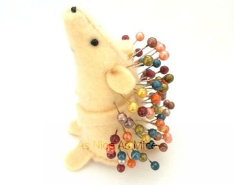 Pin Cushion Hedgehog- or felt mouse - handmade from felt- sewing accessories- comes with colourful pins, - for sewer