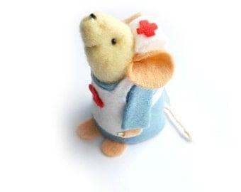 Nurse Mouse - Nurse gift - Medical ornament- felt mouse- Get Well Soon- felt mouse