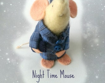 MOUSE ORNIMENT, Collectable Night Mouse, Handmade felt gift, for him or for her, snuggled up with hot water bottle