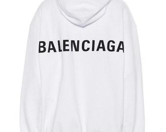 42b5d9cd Customised Balenciaga Trendy 2019 Design White Hoodie.