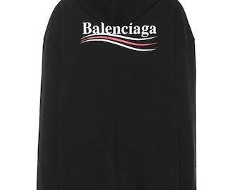 6dfaf2c3bd Personnalisé Balenciaga tendance logo design Sweat à capuche noir.