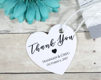 Heart Shaped Wedding Tags 20pc - White Thank You Favors - Bridal Shower Tags -  Personalized Shower Ideas - Custom Event  Labels