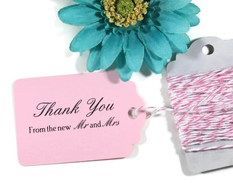 Light Pink Thank You Tags 20pc - Baby Pink Wedding Favor Tags - Blush Pink Favors - Thank You From The New Mr & Mrs