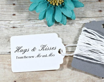 White Thank You Tags 20pc - White Wedding Favor Tags - White Wedding Ideas - Hugs and Kisses from the new Mr and Mrs - Wedding Labels