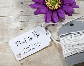 Mint to Be Wedding Favor Tags 20pc - Small White Personalized Bridal Shower Gift Tags - White Favor Tags  - Custom Mini Tags