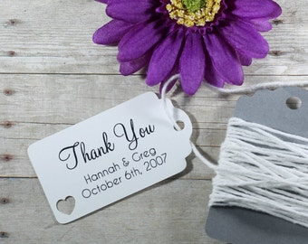 Small White Wedding Favors 20pc - Personalized Bridal Shower Gift Tags - White Favor Tags - Mini White Favor Tags - Small Wedding Label