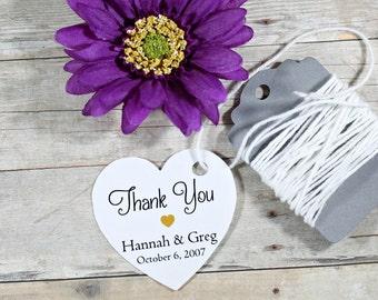 Personalized Wedding Tags 20pc - White Heart Tag - Bridal Shower Tags - Wedding Favor Tags - Custom White Wedding Tag Heart Shape