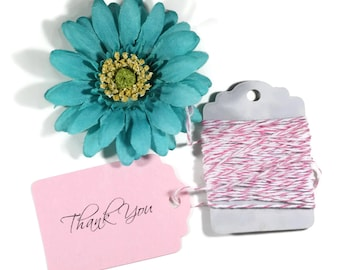 Light Pink Thank You Tags 20pc - Merchandise Tags - Wedding Favor Tags - Baby Pink Girls Baby Shower - Bridal Shower Thank You Tags