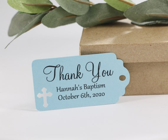 Christening Favors Set of 20 Cream Baptism Thank You Tags