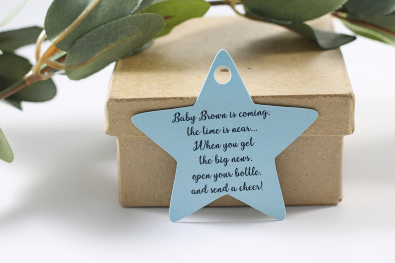 Open Your Bottle and Send a Cheer Wine Tags Light Blue Star Shaped Tags Baby Boy Shower Favors Baby is Coming Shower Tags
