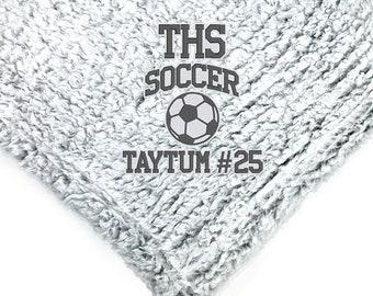 Graduation Blanket, Sports Blanket, Custom Gift, Plush Blanket, Plush Throw, Custom Throw Blanket, Senior Gift, Soccer