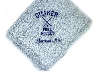 Field Hockey Blanket, Graduation Gift, Sports Gift, Custom Embroidered Blanket, Custom Throw Blanket, Senior Gift