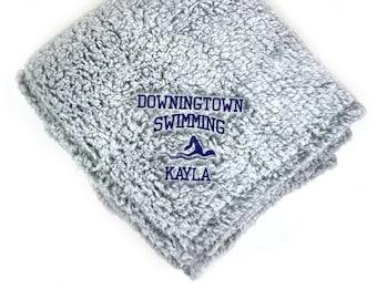 Swimming Senior Blanket, Swim Team Gift, Graduation Gift, Sports Gift, Custom Embroidered Blanket, Custom Throw Blanket, Senior Gift